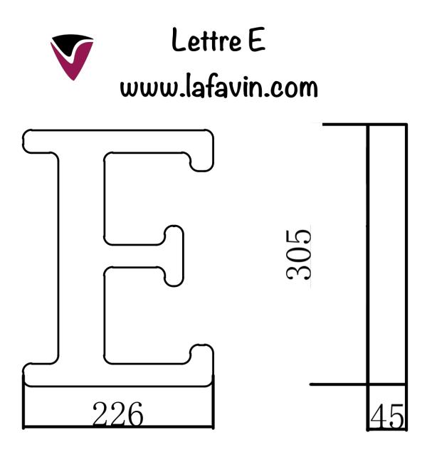 Lettre E Dimensions