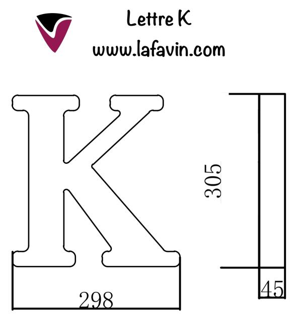 Lettre K Dimensions