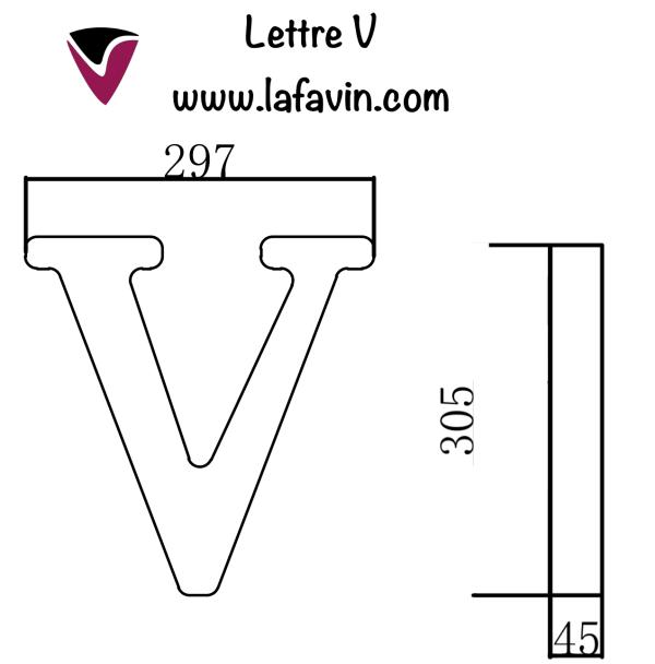 Lettre V Dimensions