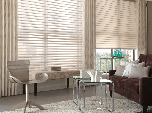 Mixed Metal Accents ground a room with a neutral palette featuring Tenera Sheer Shadings.