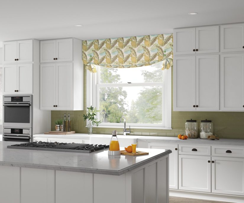Modern Clean White kitchen is accented with a fresh tuxedo valance, in a tropical pineapple print.