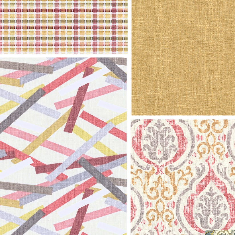 bright cheerful fabrics, in yellow and pink colors.