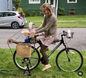 Nevada Tribble on her bicycle-powered sewing machine.