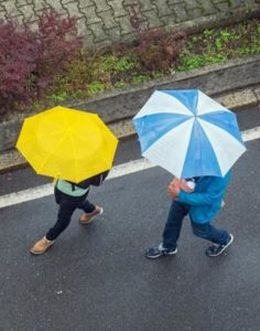 Couple with umbrellas walking through Fayetteville, WV.