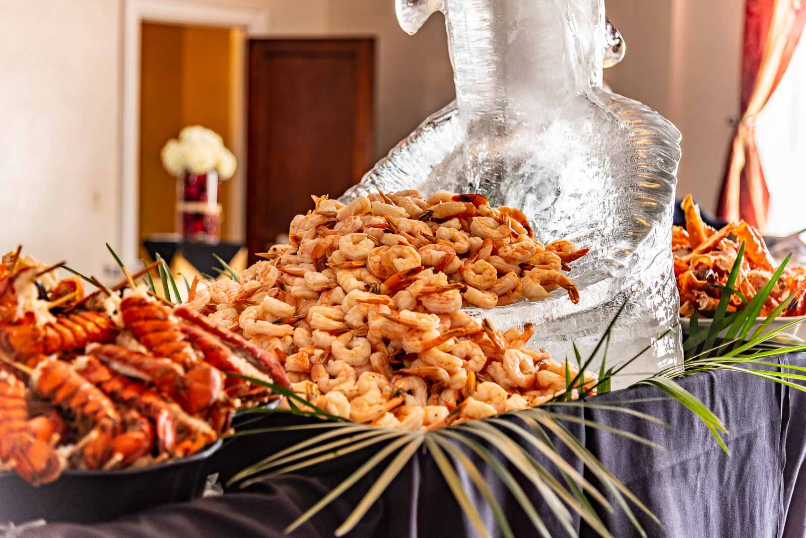 Corporate Party Shrimp served up on an ice sculpture.