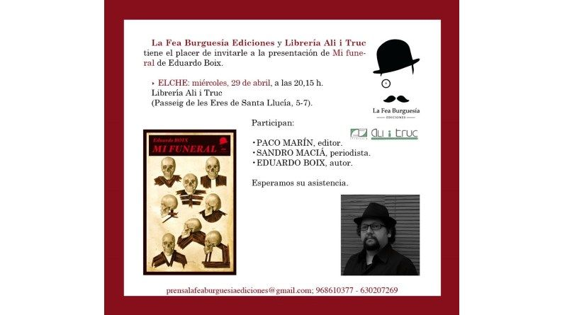 """Presentación del libro """"Mi funeral"""" en Elche"""
