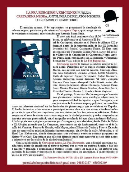 Nota de prensa LIBRO CARTAGENA NEGRA