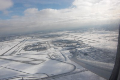 On airplane departing snowbound Iowa