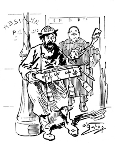 Cartoon of street seller with absinthe regarding Ban in France 1915