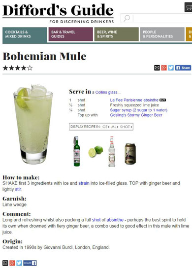 Recipe for Bohemian mule by Simon Difford