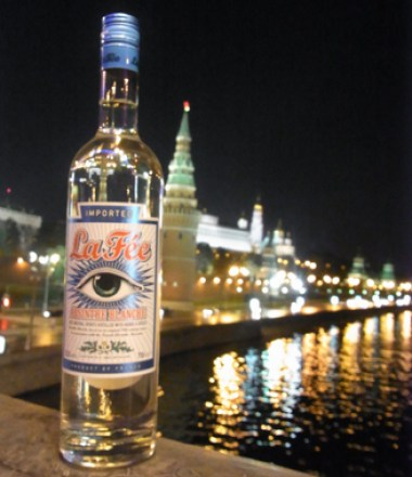 La Fée Blanche with Moscow at night