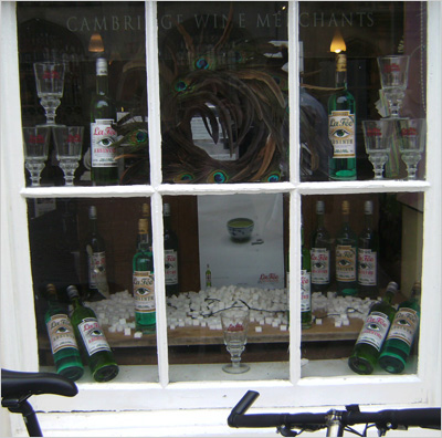 Cambridge Wine merchant with La Fée absinthe in window