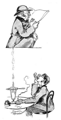 cartoon of umbrella dripping into absinthe