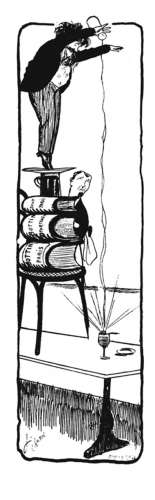 Cartoon of man pouring water from a great height onto glass of absinthe