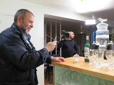 Emmanuel Maubert of France3 TV at Absinthe Museum
