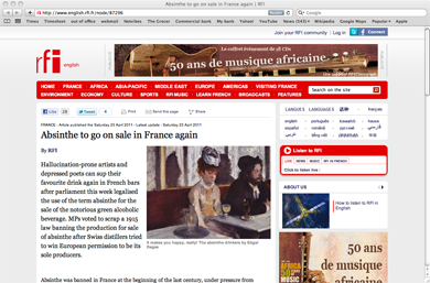 rfi article about absinthe