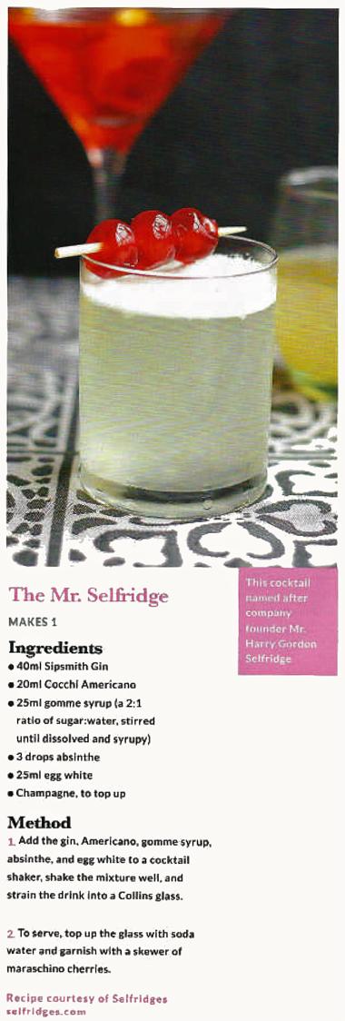 The Mr Selfridge absinthe cocktail with La Fée