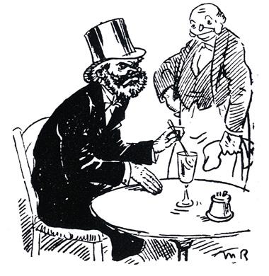 Top hat man drinking absinthe (cartoon)