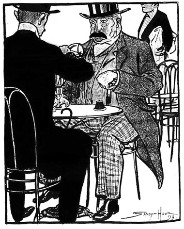 Cartoon of two gentlemen drinking absinthe