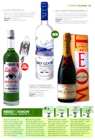 Virgin Atlantic in flight magazine featuring La Fée absinthe