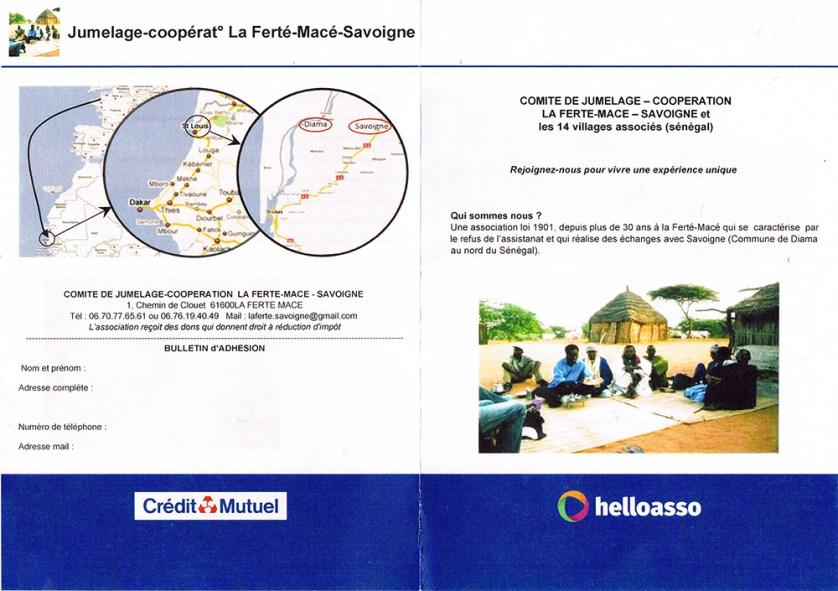 Plaquette Jumelage La Ferté - Savoigne 01