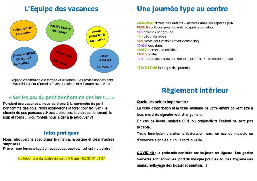 Centre Socioculturel - Programme juillet 2021