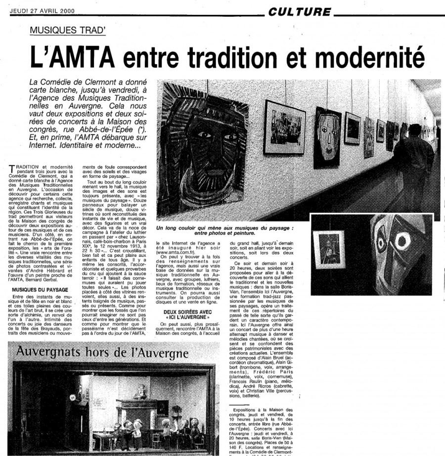 LA MONTAGNE 27 AVRIL 2000