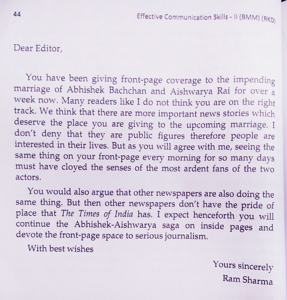 A letter explaining the condition of Indian News channels