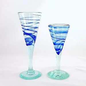 copa vidrio aguas azul lafiore
