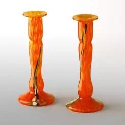 candelabro vidrio naranja