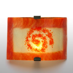 aplique de pared vidrio espiral naranja