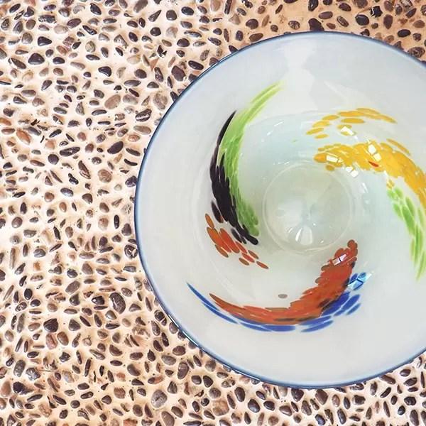 plato vidrio colores
