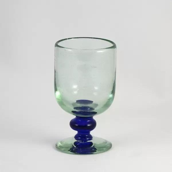 Copa Vidrio Azul Pie Cristal