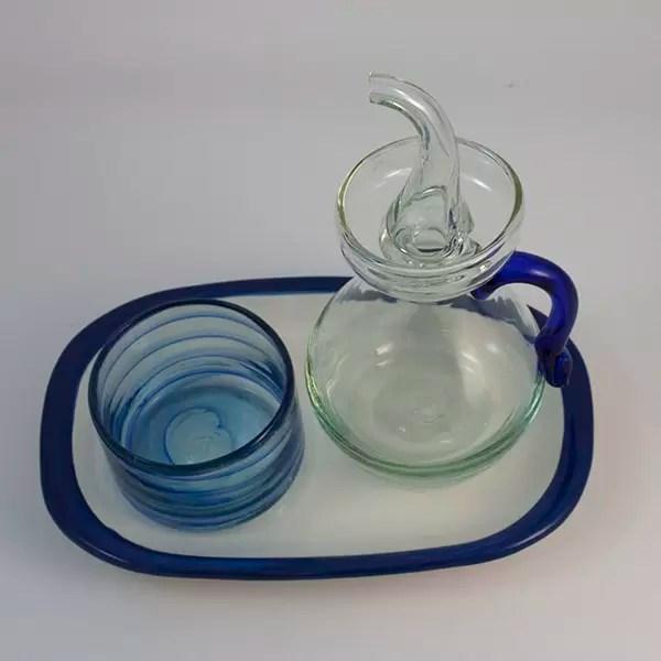 Set Azul Blue Salt and Oilbottle - Ölkaraffe, Bowl & Platte Blau Set