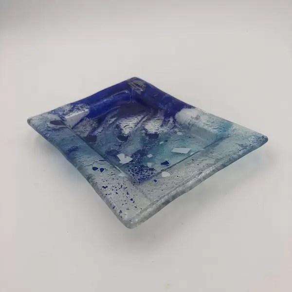 plato fusing glass blue - Verano Creativo en Mallorca