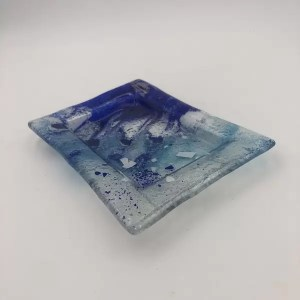 plato fusing glass blue - Plate Fusion Blue Sea