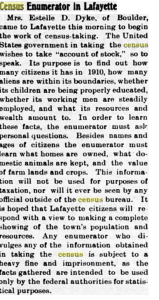 Article from April 15, 1910 Lafayette Leader about the Census