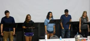 (O)n THE 5:31 actors: Elyssa Trevino and Joseph Paz reading stage directions, Emily Reas as Gina, Bernardo Cubria  as Benny, and Kaylie Hyman as Sandra;  Photo by Joe Luis Cedillo, Associate Artistic Director and Dramaturg for (O)n THE 5:31.