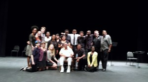 Director Nadine Mozon, also Associate Artistic Director for the conference (standing far left), Johnique Mitchell (standing fourth from left), George James (standing in white shirt), Eugene Lee, Artistic Director of the Black and Latino Playwrights Conference (standing far right), Kia Malone (in yellow sweater far right), and honored playwright Ted Shine (seated) The ensemble members: Matthew Drake Shrader, Morgan Macinnes, Taylor Joree Scorse, Ava L'Amoreaux, Vincent Hooper, Kelsey Buckley, and Chas Harvey and stage crew.