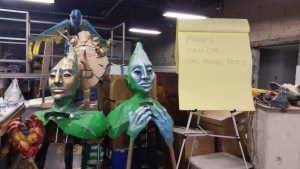 Paper mache puppets of the Corn People from the legend of Popol Voh