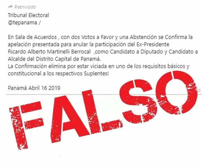 T.E. desmiente información que circula en redes sociales sobre fallo a impugnaciones del expresidente Martinelli