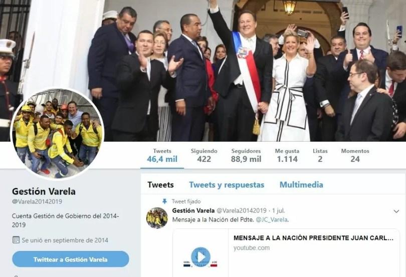 Cuenta de Twitter de la Presidencia durante el periodo 2014-2019