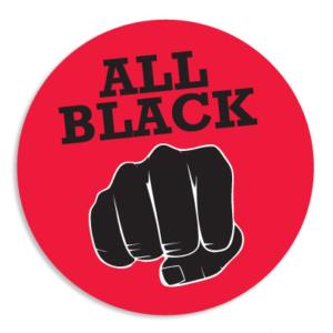 Logo de la marque All Black avec rond rouge et le poing Fist Hard