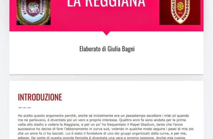 Giulia Bagni presenta una tesina sulla Reggiana per ottenere la licenza di terza media