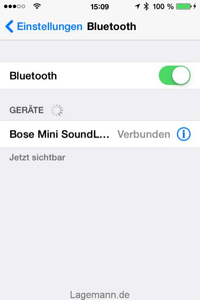 Bluetooth-Verbindung auf dem Smartphone (iPhone)