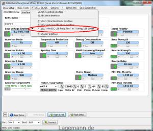 USB Linker auswählen