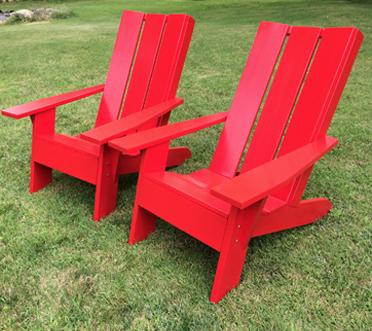 Chaise-Adirondack-Urbaine-peinte rouge lagencee