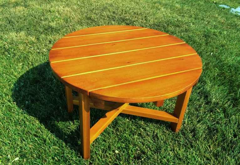 table basse ronde adirondack cedre blanc lagencee27