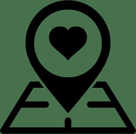 Icono de mapa con marcador con corazón