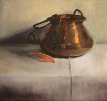 """Copper Pot, Flamingo Feather"". Oil on panel. 2014."